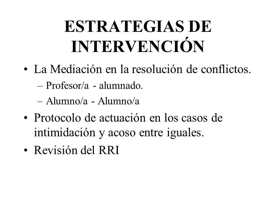 ESTRATEGIAS DE INTERVENCIÓN La Mediación en la resolución de conflictos.