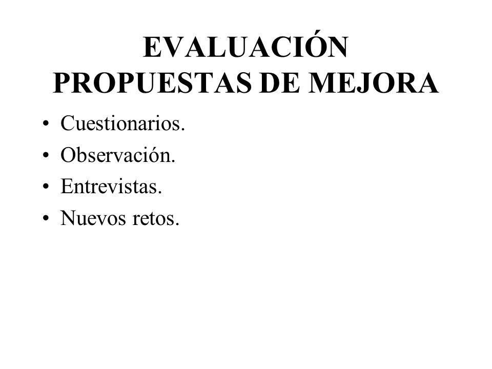 EVALUACIÓN PROPUESTAS DE MEJORA Cuestionarios. Observación. Entrevistas. Nuevos retos.