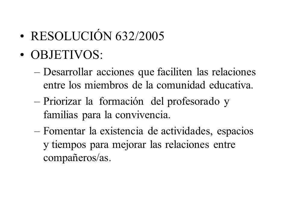 RESOLUCIÓN 632/2005 OBJETIVOS: –Desarrollar acciones que faciliten las relaciones entre los miembros de la comunidad educativa.