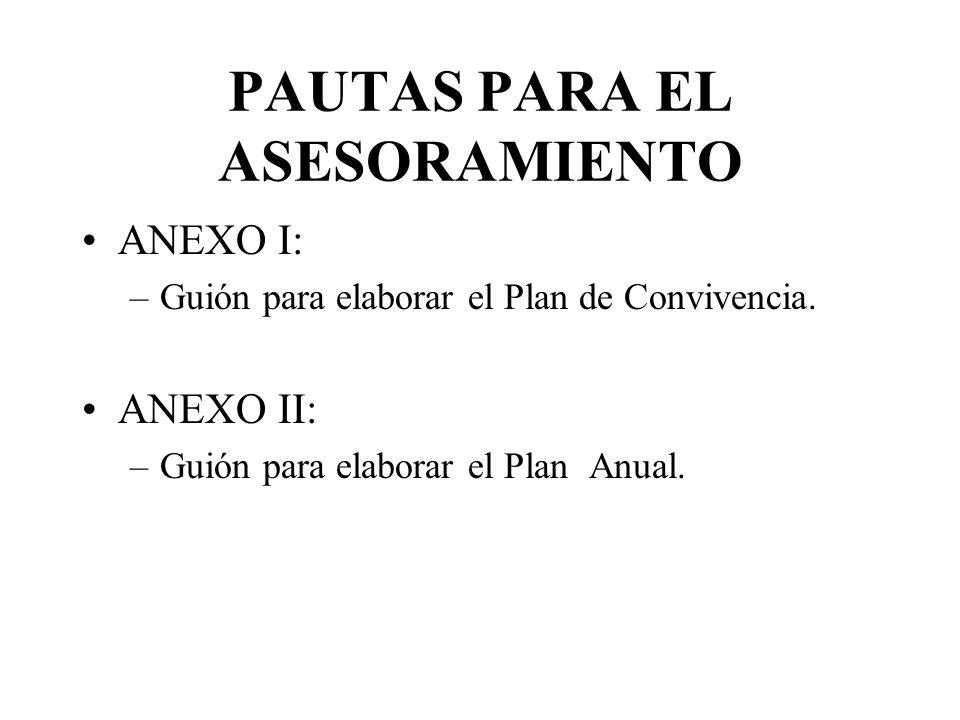 PAUTAS PARA EL ASESORAMIENTO ANEXO I: –Guión para elaborar el Plan de Convivencia.