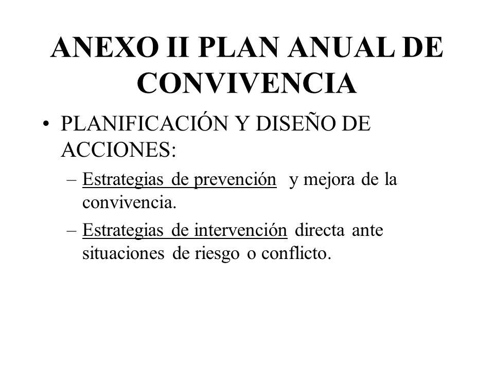 ANEXO II PLAN ANUAL DE CONVIVENCIA PLANIFICACIÓN Y DISEÑO DE ACCIONES: –Estrategias de prevención y mejora de la convivencia.