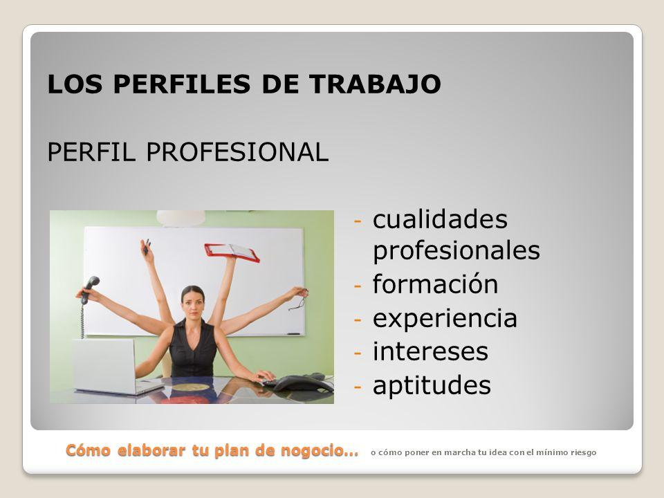 Cómo elaborar tu plan de nogocio… LOS PERFILES DE TRABAJO PERFIL PROFESIONAL - cualidades profesionales - formación - experiencia - intereses - aptitu