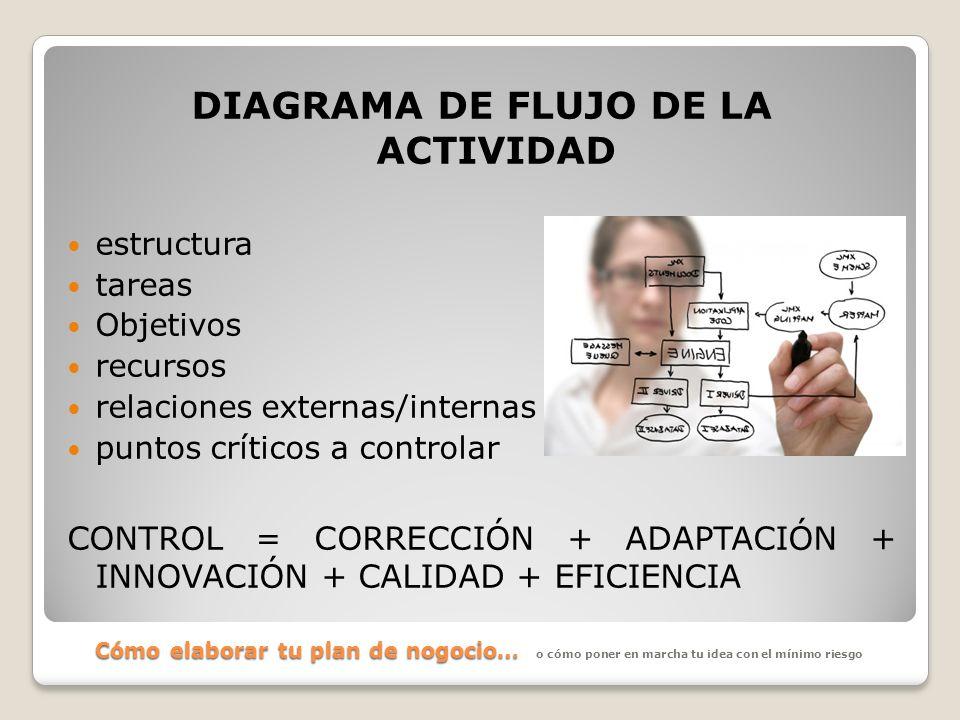 Cómo elaborar tu plan de nogocio… DIAGRAMA DE FLUJO DE LA ACTIVIDAD estructura tareas Objetivos recursos relaciones externas/internas puntos críticos