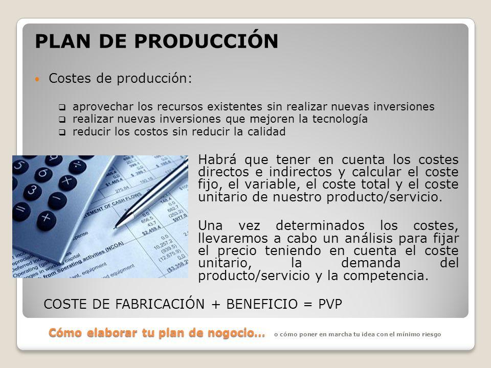 Cómo elaborar tu plan de nogocio… PLAN DE PRODUCCIÓN Costes de producción: aprovechar los recursos existentes sin realizar nuevas inversiones realizar