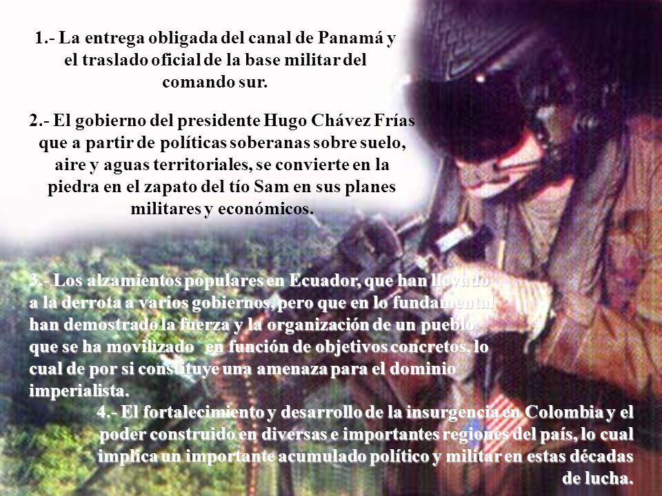 4.- El fortalecimiento y desarrollo de la insurgencia en Colombia y el poder construido en diversas e importantes regiones del país, lo cual implica un importante acumulado político y militar en estas décadas de lucha.