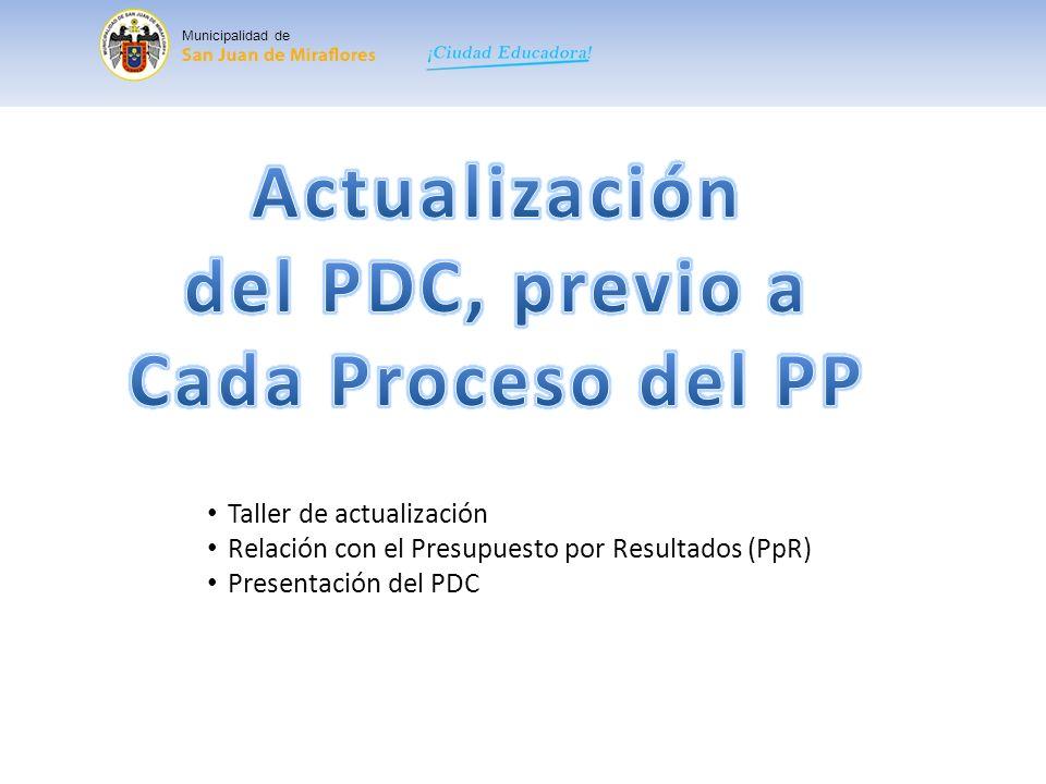 Municipalidad de Taller de actualización del PDC: Se presenta la Visión y los Objetivos Estratégicos del PDC, en caso de que el equipo técnico y los agentes participantes vean por conveniente su modificación, podrán ser ajustados en este espacio.