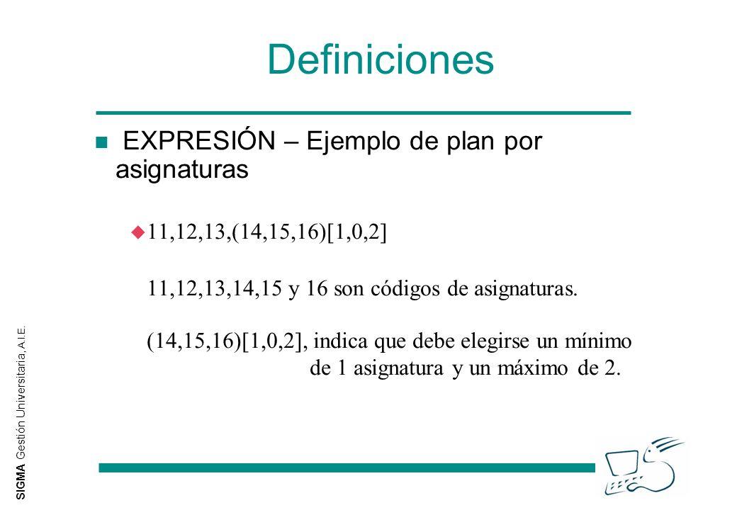 SIGMA Gestión Universitaria, A.I.E. Definiciones n EXPRESIÓN – Ejemplo de plan por asignaturas u 11,12,13,(14,15,16)[1,0,2] 11,12,13,14,15 y 16 son có