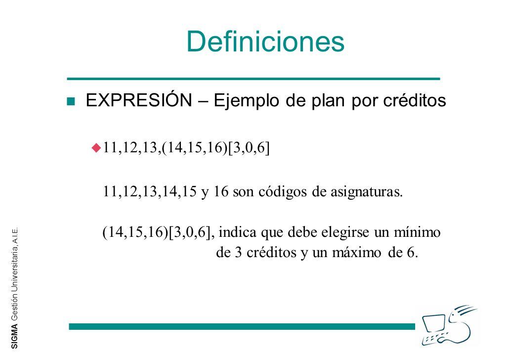SIGMA Gestión Universitaria, A.I.E. Definiciones n EXPRESIÓN – Ejemplo de plan por créditos u 11,12,13,(14,15,16)[3,0,6] 11,12,13,14,15 y 16 son códig