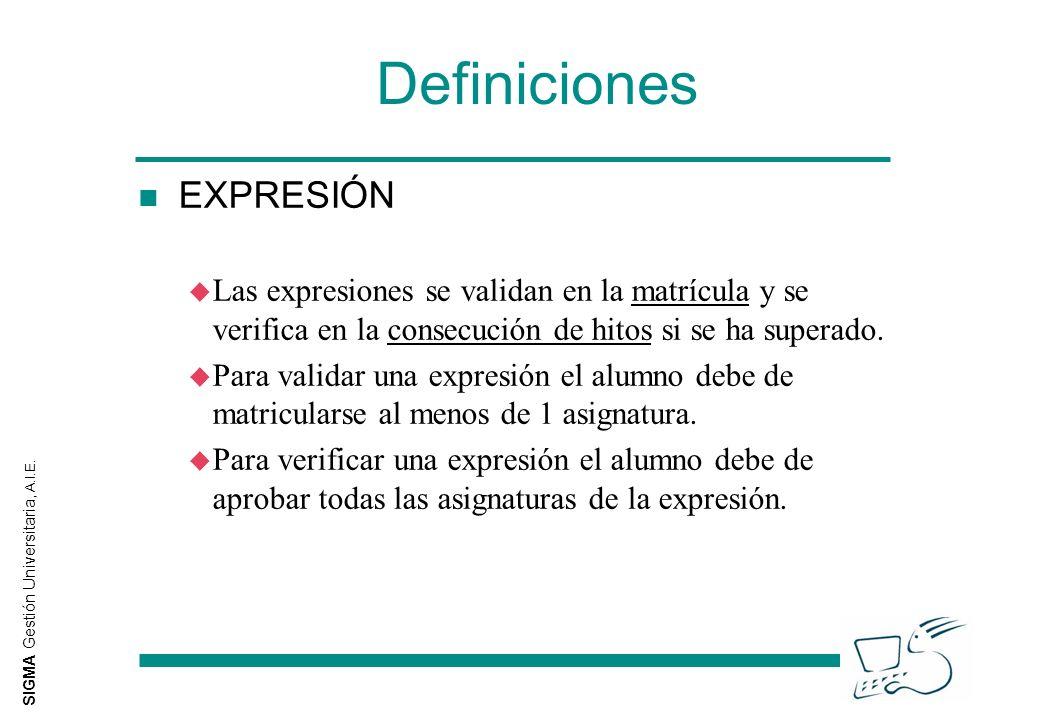 SIGMA Gestión Universitaria, A.I.E. Definiciones n EXPRESIÓN u Las expresiones se validan en la matrícula y se verifica en la consecución de hitos si