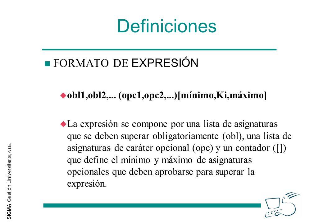 SIGMA Gestión Universitaria, A.I.E. Definiciones FORMATO DE EXPRESIÓN u obl1,obl2,... (opc1,opc2,...)[mínimo,Ki,máximo] u La expresión se compone por