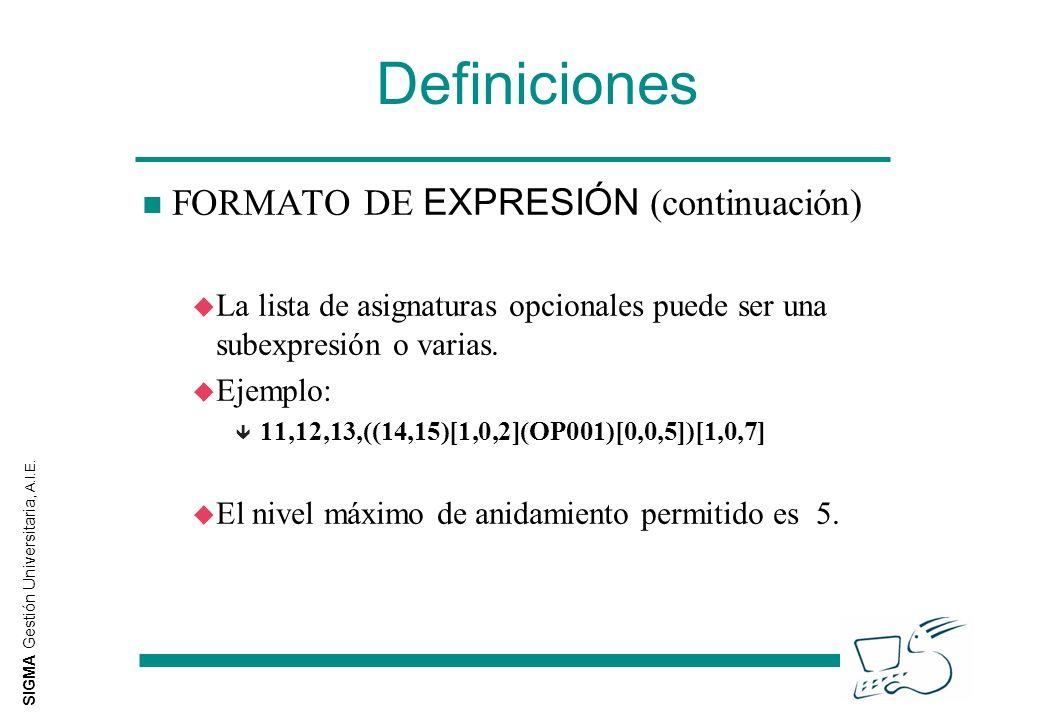 SIGMA Gestión Universitaria, A.I.E. Definiciones FORMATO DE EXPRESIÓN (continuación) u La lista de asignaturas opcionales puede ser una subexpresión o