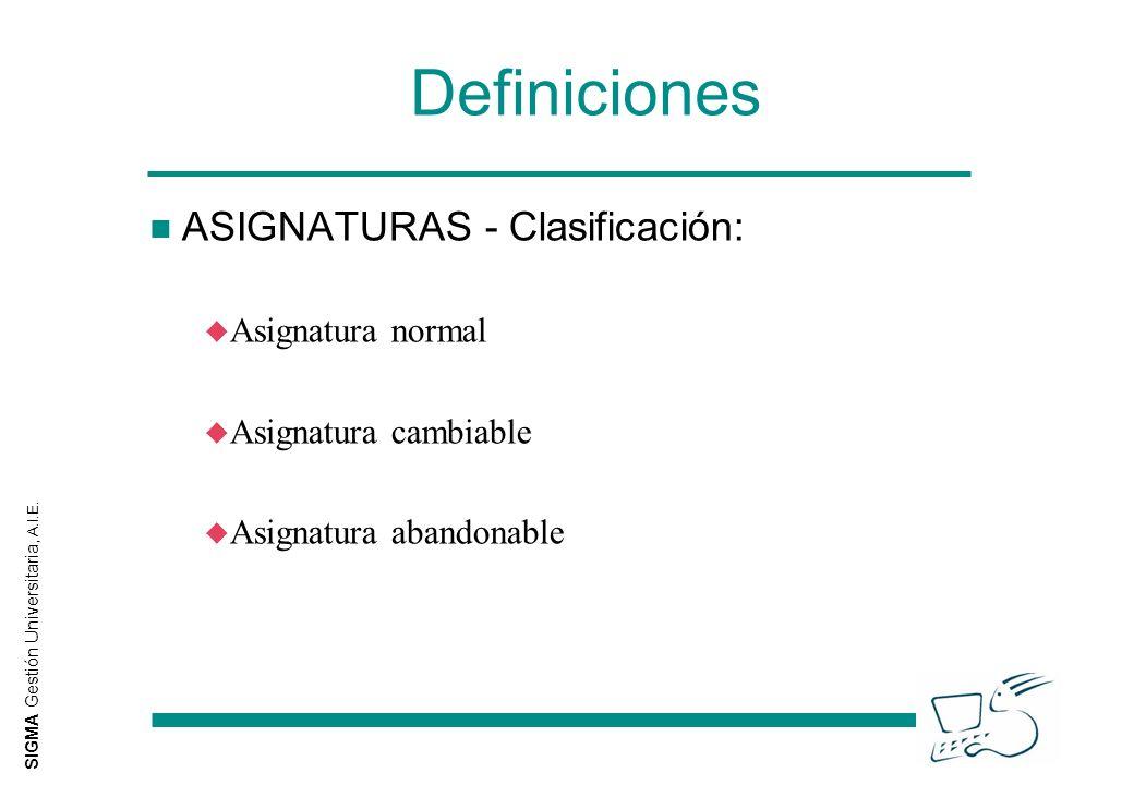 SIGMA Gestión Universitaria, A.I.E. Definiciones n ASIGNATURAS - Clasificación: u Asignatura normal u Asignatura cambiable u Asignatura abandonable