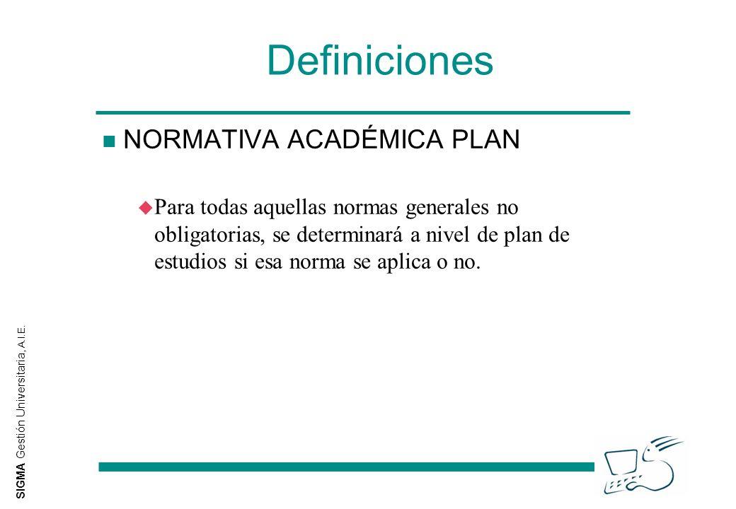 SIGMA Gestión Universitaria, A.I.E. Definiciones n NORMATIVA ACADÉMICA PLAN u Para todas aquellas normas generales no obligatorias, se determinará a n