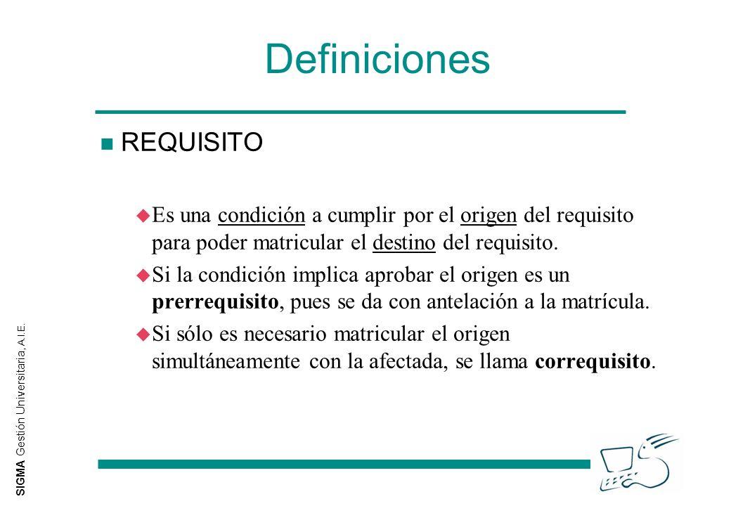 SIGMA Gestión Universitaria, A.I.E. Definiciones n REQUISITO u Es una condición a cumplir por el origen del requisito para poder matricular el destino