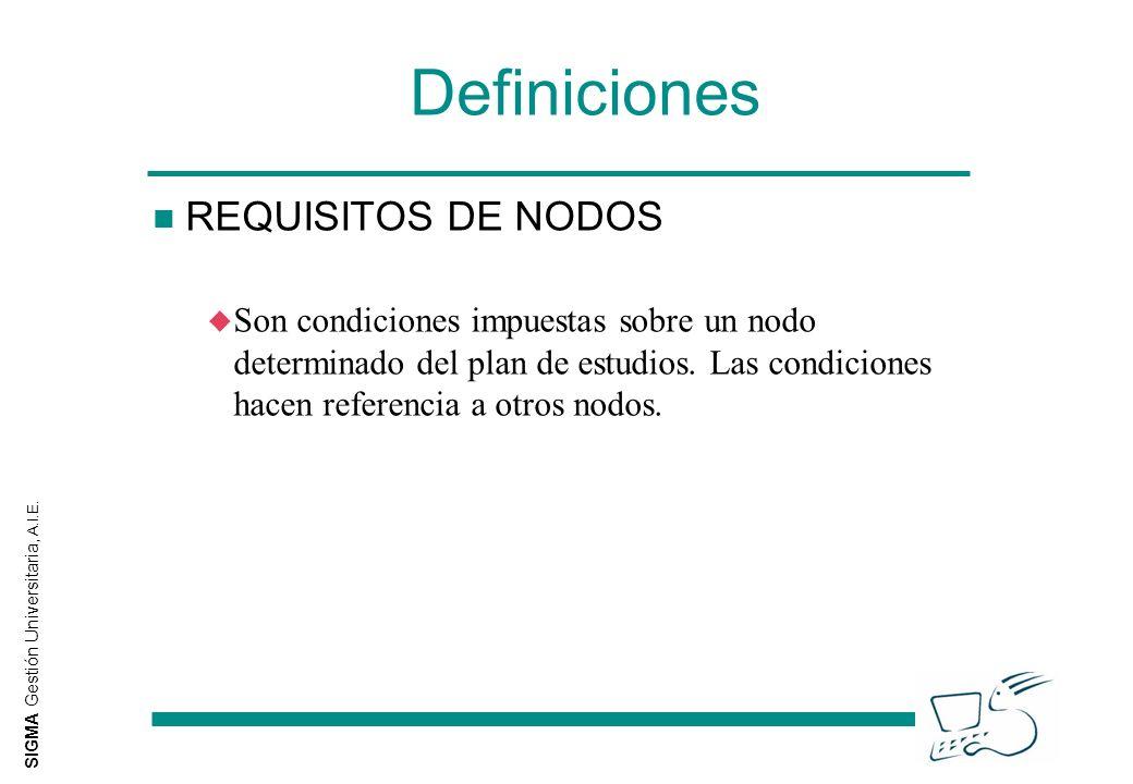 SIGMA Gestión Universitaria, A.I.E. Definiciones n REQUISITOS DE NODOS u Son condiciones impuestas sobre un nodo determinado del plan de estudios. Las
