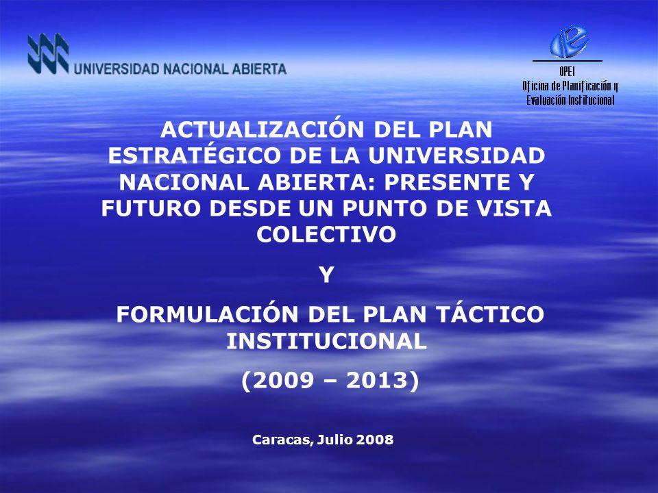 Aprobación por El Consejo Superior Plan Estratégico Institucional Publicación Gaceta Plan Estratégico Institucional Aprobación por El Consejo Superior Jornada de Reflexión La Universidad que Queremos 27 - 07- 0512 -12- 05 24- 05- 07 Aprobación Prioridades 2007 (Plan Táctico) 25-10-06 RESEÑA HISTORICA FORMULACIÓN PLAN ESTRATÉGICO Y PLAN TÁCTICO 14-06-06 Articulación POAI 2006 Articulación POAI 2007 22-11-07