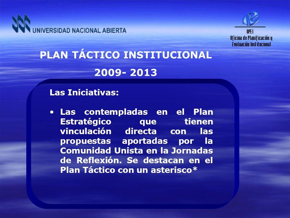PLAN TÁCTICO INSTITUCIONAL 2009- 2013 Las Iniciativas: Las contempladas en el Plan Estratégico que tienen vinculación directa con las propuestas aport