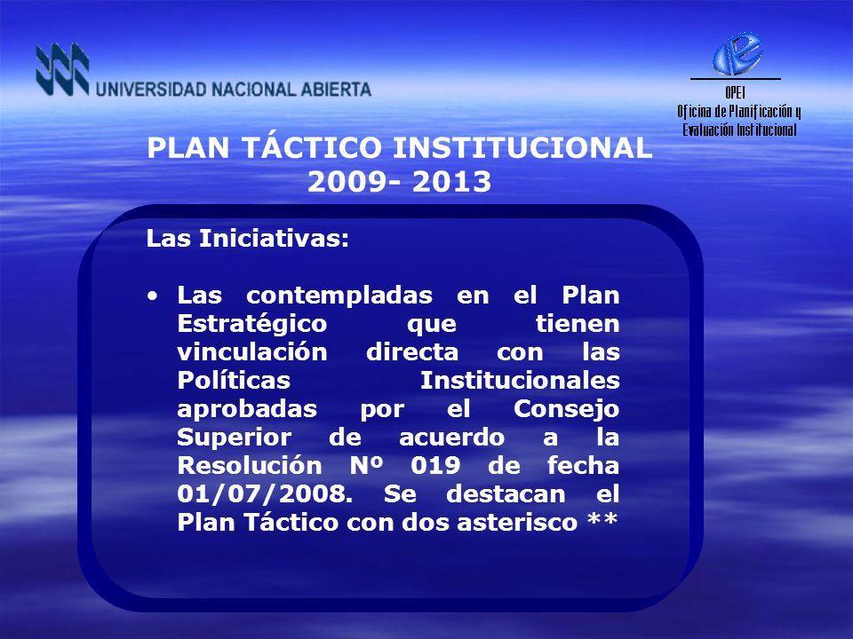 PLAN TÁCTICO INSTITUCIONAL 2009- 2013 Las Iniciativas: Las contempladas en el Plan Estratégico que tienen vinculación directa con las Políticas Instit
