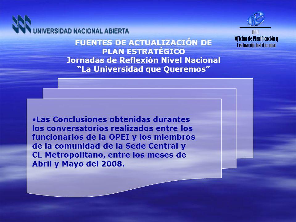 Las Conclusiones obtenidas durantes los conversatorios realizados entre los funcionarios de la OPEI y los miembros de la comunidad de la Sede Central