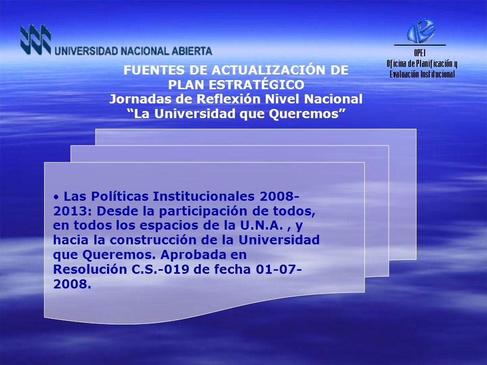 Las Políticas Institucionales 2008- 2013: Desde la participación de todos, en todos los espacios de la U.N.A., y hacia la construcción de la Universid