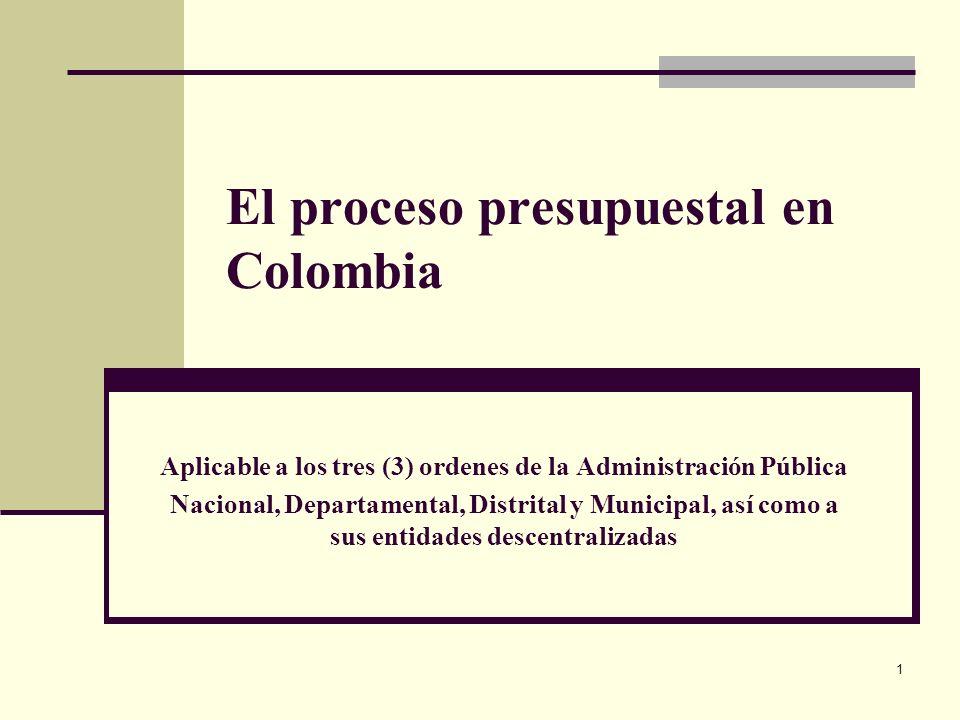 1 El proceso presupuestal en Colombia Aplicable a los tres (3) ordenes de la Administración Pública Nacional, Departamental, Distrital y Municipal, así como a sus entidades descentralizadas