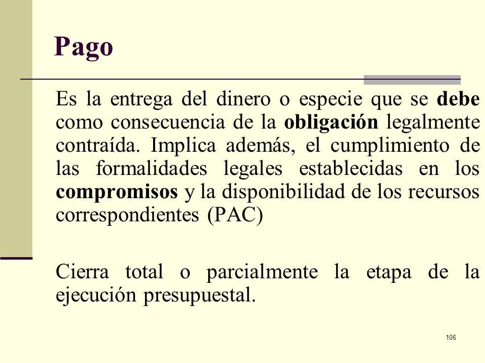 105 Obligación Los recursos comprometidos y que han desarrollado el objeto de la apropiación, generan obligaciones al ente público. Se trata del momen