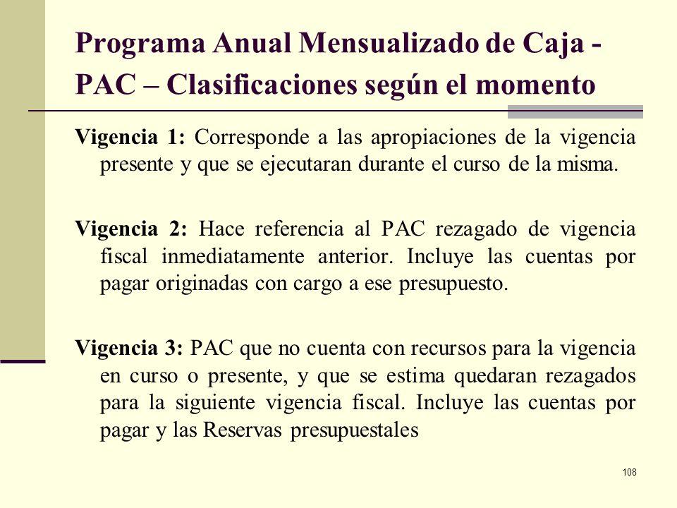 107 Programa Anual Mensualizado de Caja PAC Es el instrumento mediante el cual se establece el monto máximo mensual de recursos disponibles en la Cuen