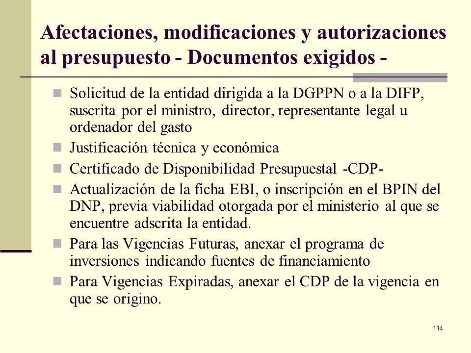 113 Afectaciones, modificaciones y autorizaciones al presupuesto - Procedimientos - Solicitud de la entidad dirigida a la DGPPN o a la DIFP La DGPPN o