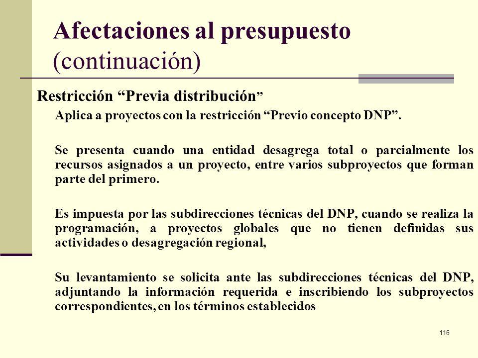115 Afectaciones al presupuesto Restricción Previo concepto DNP La hace el DNP cuando la información de los proyectos es deficiente o no existe una cl