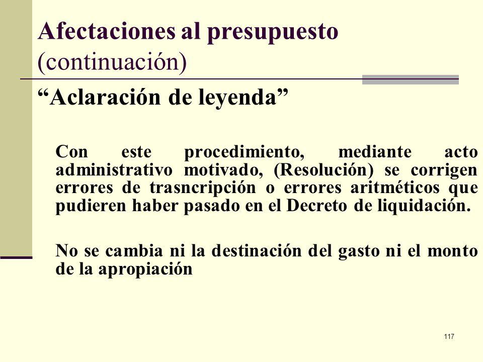 116 Afectaciones al presupuesto (continuación) Restricción Previa distribución Aplica a proyectos con la restricción Previo concepto DNP. Se presenta