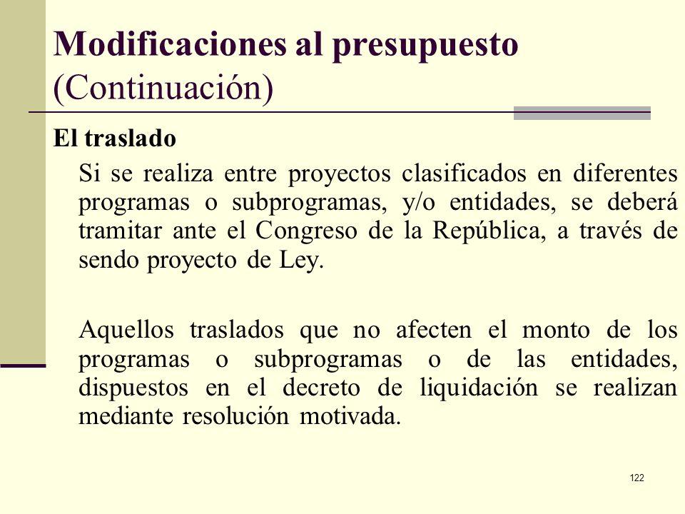 121 Modificaciones al presupuesto (continuación) El traslado Es una operación, mediante ley de la República o acto administrativo, con razones técnica