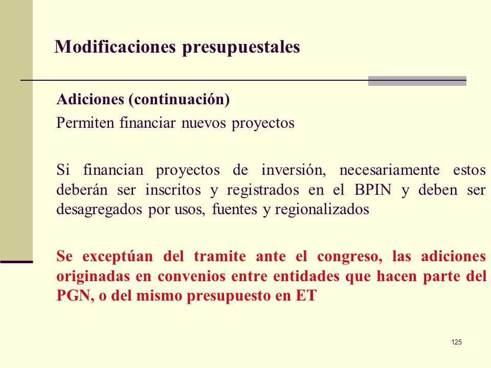 124 Modificaciones presupuestales Adiciones Procedimiento mediante el cual se incorporan recursos al presupuesto, provenientes del producto de mayores