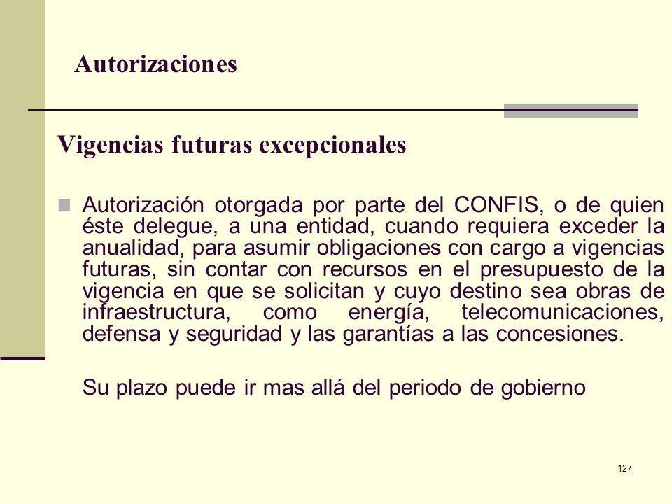 126 Autorizaciones Autorización otorgada por parte del CONFIS o de quien éste delegue, a una entidad, para asumir compromisos y obligaciones con cargo