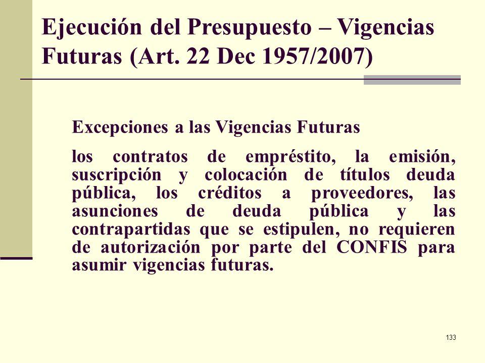 132 VIGENCIAS FUTURAS ORDINARIAS PARA ENTIDADES TERRITORIALES El monto máximo de Vigencias futuras, el plazo y las condiciones (Metas plurianuales del
