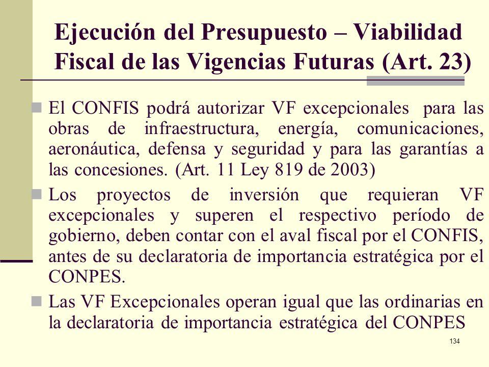 133 Ejecución del Presupuesto – Vigencias Futuras (Art. 22 Dec 1957/2007) Excepciones a las Vigencias Futuras los contratos de empréstito, la emisión,