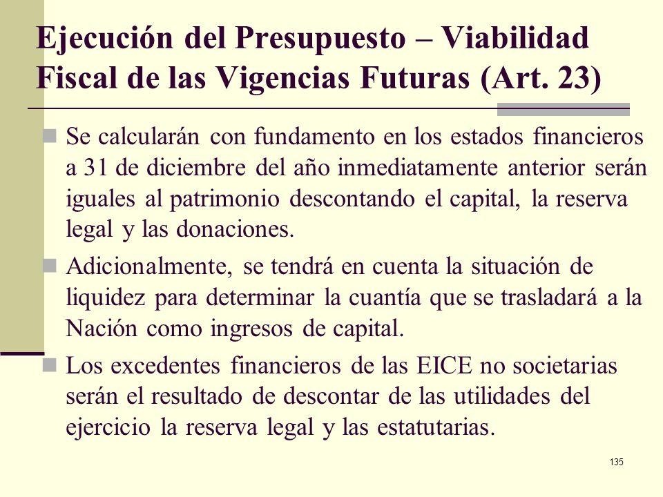134 Ejecución del Presupuesto – Viabilidad Fiscal de las Vigencias Futuras (Art. 23) El CONFIS podrá autorizar VF excepcionales para las obras de infr