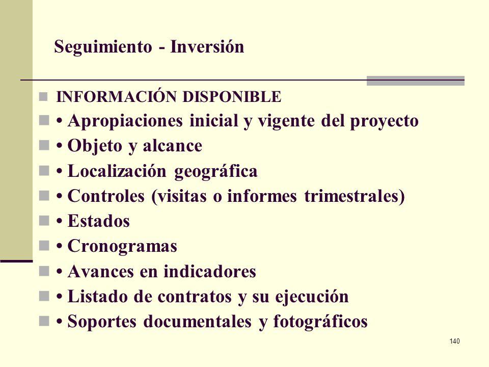 139 Seguimiento 3. Seguimiento Físico – Financiero Trimestral a través del Sistema de Seguimiento a Proyectos de Inversión – SPI Instrumento de contro