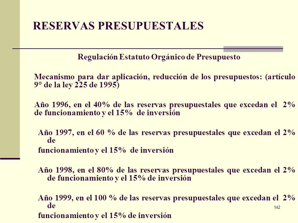 141 ANTECEDENTES DECRETO 1957 DEL 30 DE MAYO DE 2007 RESERVAS PRESUPUESTALES Regulación Estatuto Orgánico de Presupuesto Noción: compromisos que al 31