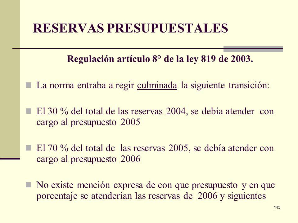 144 RESERVAS PRESUPUESTALES Regulación artículo 8° de la ley 819 de 2003. Preparación y elaboración de presupuesto de Nación y entidades territoriales