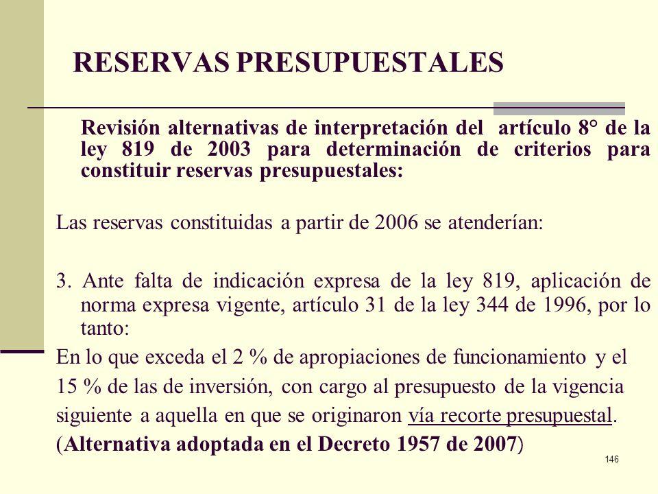 145 RESERVAS PRESUPUESTALES Regulación artículo 8° de la ley 819 de 2003. La norma entraba a regir culminada la siguiente transición: El 30 % del tota