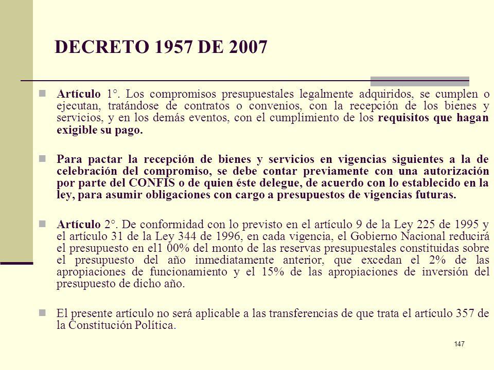 146 RESERVAS PRESUPUESTALES Revisión alternativas de interpretación del artículo 8° de la ley 819 de 2003 para determinación de criterios para constit