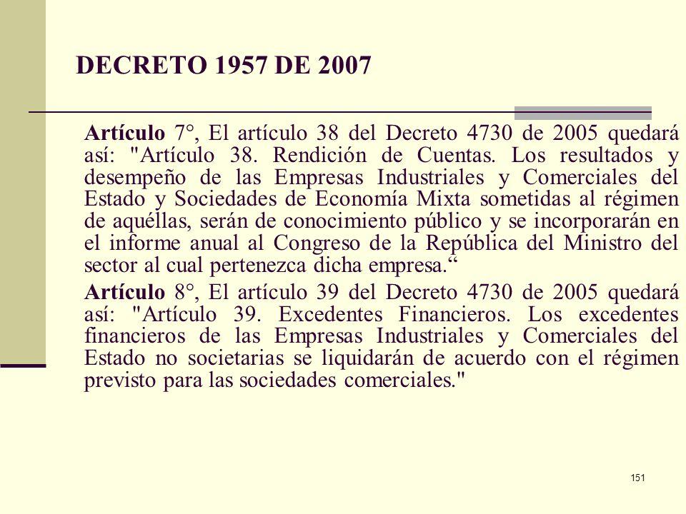 150 DECRETO 1957 DE 2007 Artículo 5° Modificó el art 30 del decreto 4730 Las Desagregación de las Apropiaciones. El Representante Legal de cada uno de