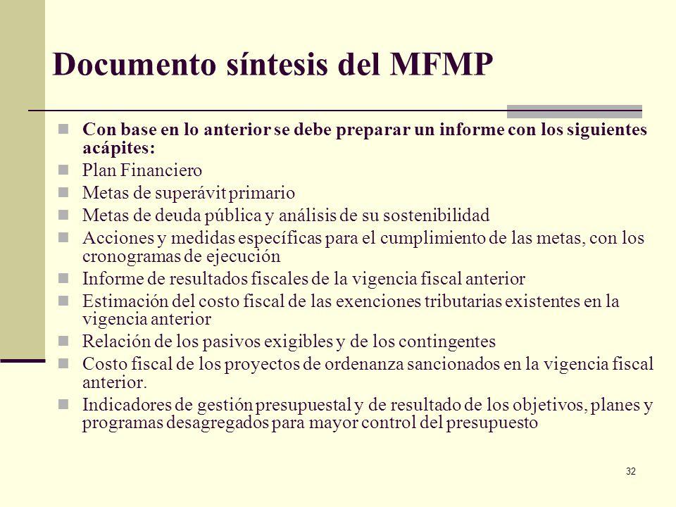 31 MFMP: 9. Indicadores de gestión Se deben obtener indicadores que permitan hacer seguimiento a las metas planteadas en el MFMP con el fin de efectua