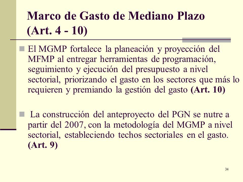 33 Componentes del Sistema Presupuestal (continuación) Marco de Gasto de Mediano Plazo (Únicamente en el orden Nacional) Proyecciones para 4 años de l