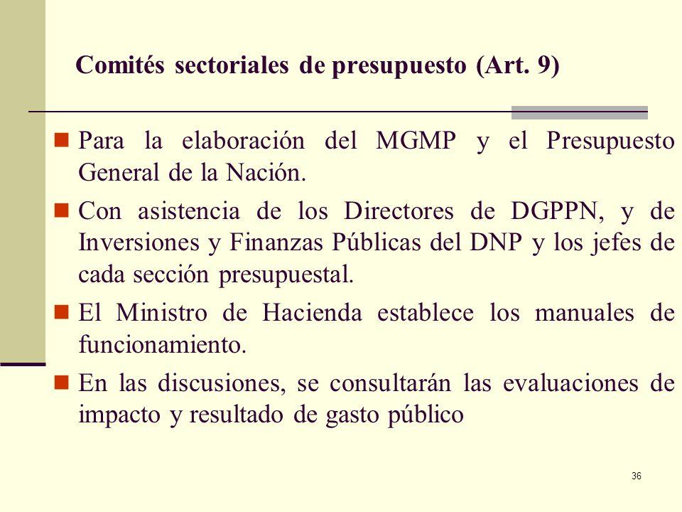 35 Marco de Gasto de Mediano Plazo (Art. 4 - 10) Elaborado por el MHCP en coordinación con el DNP, antes del 30 de junio. Crea el vínculo entre el MFM