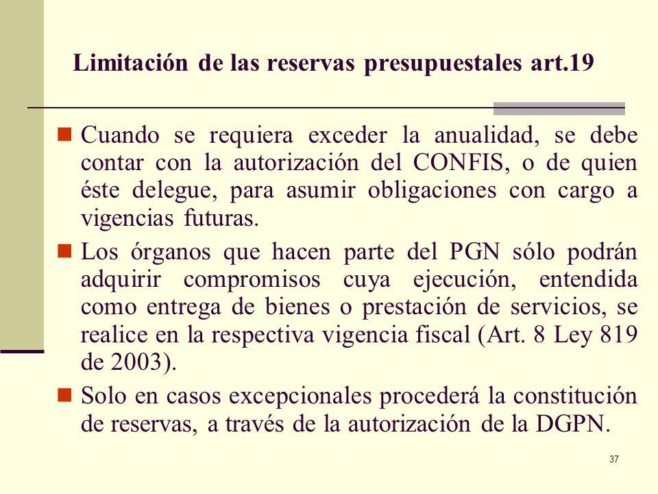 36 Comités sectoriales de presupuesto (Art. 9) Para la elaboración del MGMP y el Presupuesto General de la Nación. Con asistencia de los Directores de