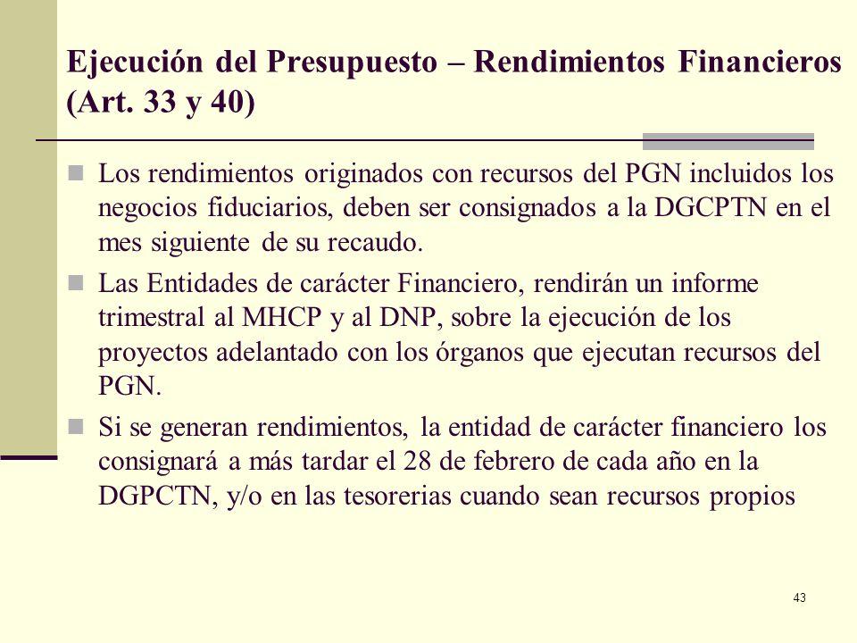 42 Ejecución del Presupuesto. Desagregación de las Apropiaciones (Art. 30) El Representante Legal el primer día hábil de cada vigencia fiscal, debe de