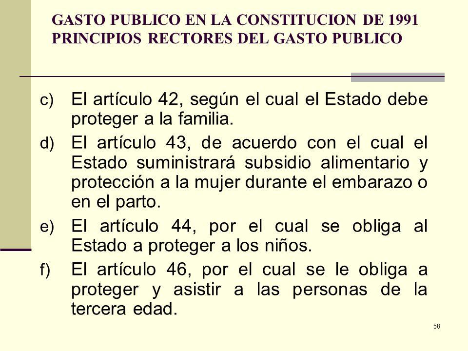 57 GASTO PUBLICO EN LA CONSTITUCION DE 1991 PRINCIPIOS RECTORES DEL GASTO PUBLICO a) El artículo 1 o, Colombia es un Estado social de derecho organiza