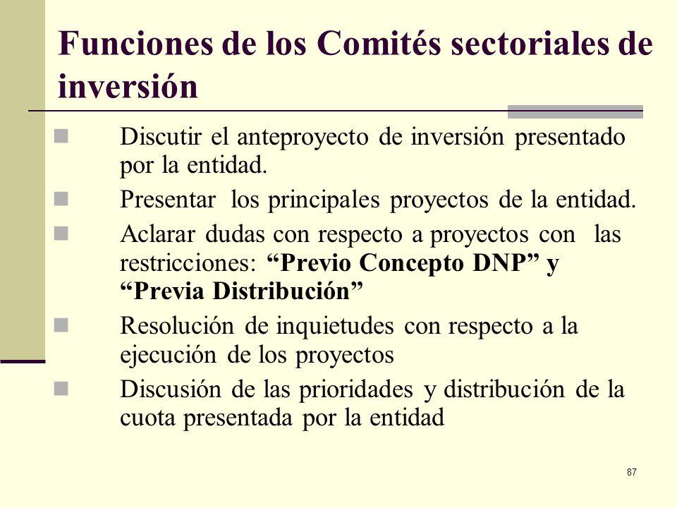 86 Comités sectoriales de inversión Integrado por: Un funcionario de la DGPPN Un funcionario del respectivo ministerio o departamento administrativo (
