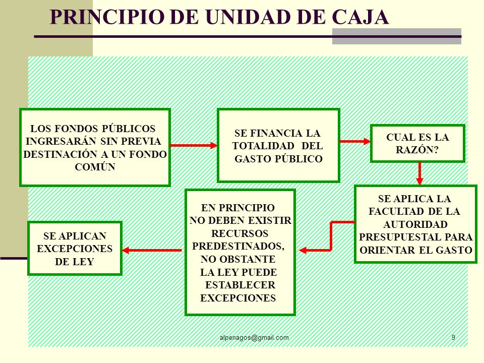PRINCIPIO DE UNIDAD DE CAJA alpenagos@gmail.com9 LOS FONDOS PÚBLICOS INGRESARÁN SIN PREVIA DESTINACIÓN A UN FONDO COMÚN SE FINANCIA LA TOTALIDAD DEL GASTO PÚBLICO CUAL ES LA RAZÓN.